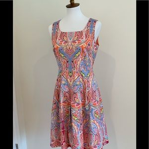 Paisley Sateen Fit & Flare Dress
